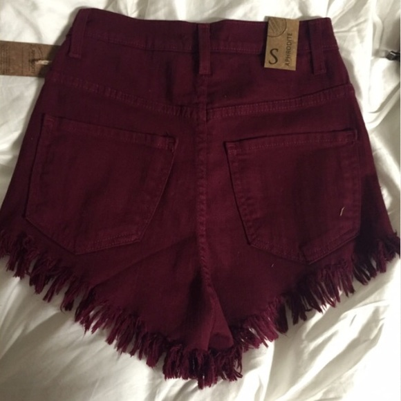 49% off Fashion Nova Pants - burgundy high waisted shorts from ...