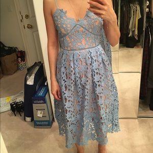 Pale blue lace dress w pockets, adjustable straps