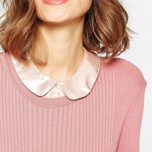 ASOS Accessories - ASOS Pink Satin Collar Lace Bib