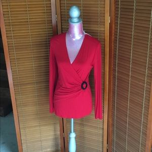 Vertigo Paris Tops - Plunging draped neck sweater