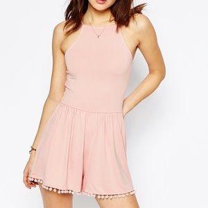 ASOS Pants - Pink Pompom Tie Romper