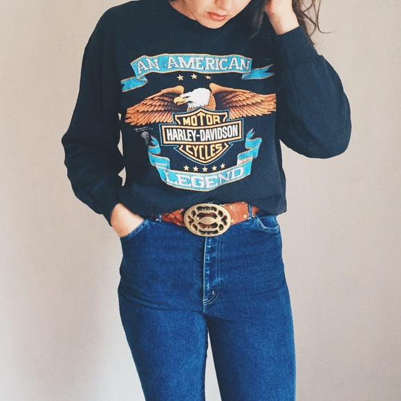 Lf Tops Vintage Harley Davidson Crew Neck Sweatshirt Poshmark