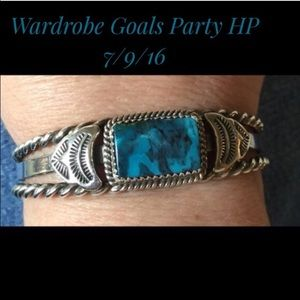 Vintage Jewelry - 💙Vintage Navajo Morenci Turquoise Sterling Cuff💙