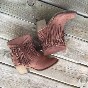 Shoes - Brown suede fringe western cowboy ankle boots