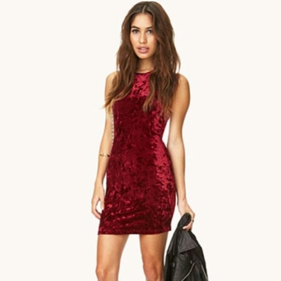 f0d4b66b94 Forever 21 Dresses   Skirts - Forever 21 Red Velvet Suede Bodycon Dress