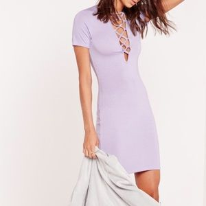 ASOS Dresses & Skirts - Lilac Lace Up Short Sleeve Bodycon Dress