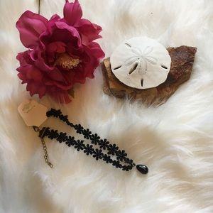Urban Outfitters Jewelry - NEW🔥 Black Flower Choker w/ Dangle Bead