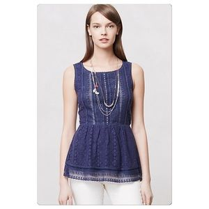 Anthropologie Coralline Peplum Top