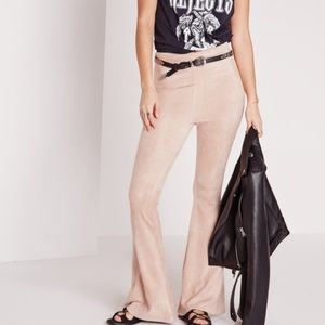 Missguided Pants - Faux Suede Skinny Bell Bottom Pants Taupe