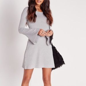 ASOS Dresses & Skirts - Ribbed Bell Sleeve Gray Dress