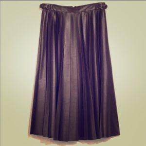 Zara Brown Faux Leather MIDI Pleated Skirt XS