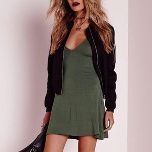 Missguided Dresses & Skirts - Khaki Tank Swing Skater Dress
