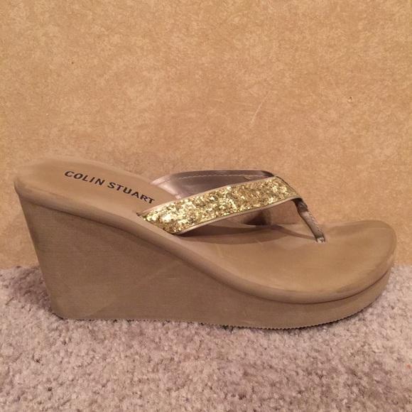 eef3c998e72 Colin Stuart Shoes - Gold Glitter Wedge Flip Flops
