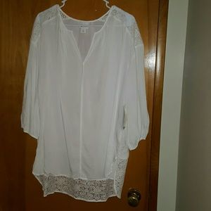 Stylus White Lace fringed blouse (Size 14)