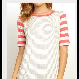 Tops - Oatmeal Stripe Print Top