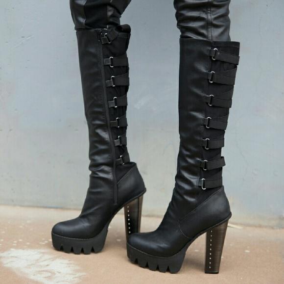Black Wide Metal Heel Strappy Boots Knee High 10
