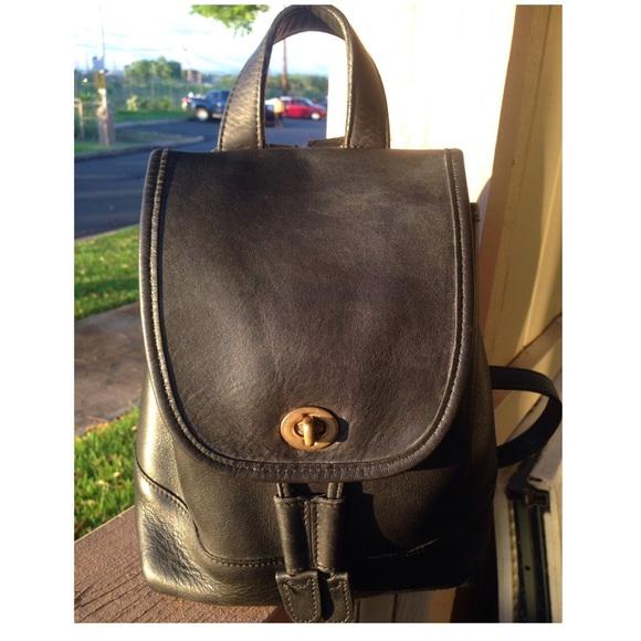 41b3abf56f Coach Handbags - VTG COACH 9960 BLack Leather Drawstring Backpack