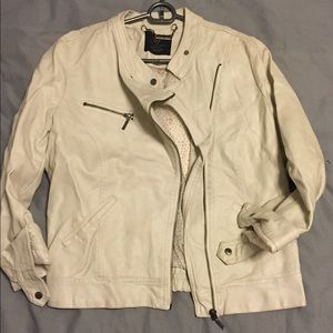 Zara faux off white leather jacket