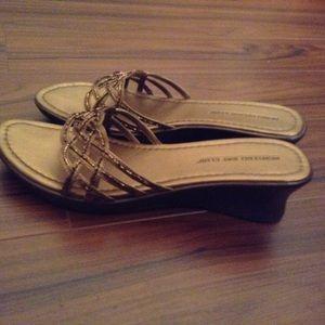 Shoes - Bronze Beaded Slide Sandal