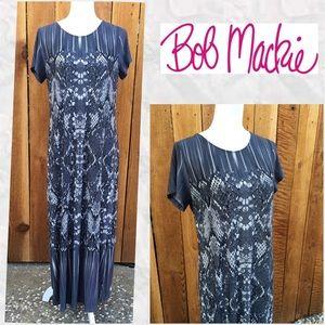 "Bob Mackie Gray ""Snakeskin"" Print Maxi Dress"
