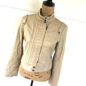 Flying Tomato Jackets & Blazers - Flying tomato beige vegan leather moto jacket