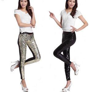 NWOT leggings/ gold sequins front