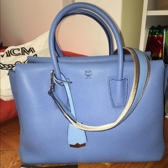Milla Crossbody Medium Poshmark Mcm BagsAuth Tile Blue Tote Bag mNwn8v0O