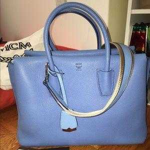 MCM Handbags - Auth MCM milla medium tote bag tile blue crossbody