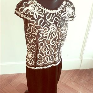 Gorgeous 80s does 50s lace ribbon dress