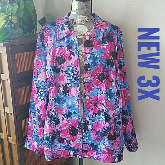 86c35415461bf NWT Plus 3X Laura Ashley Flower Power jacket