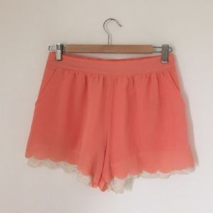 Mine Pants - Coral Lace Scalloped Shorts