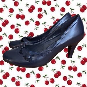 Cute Kitten Heeled Navy Shoes
