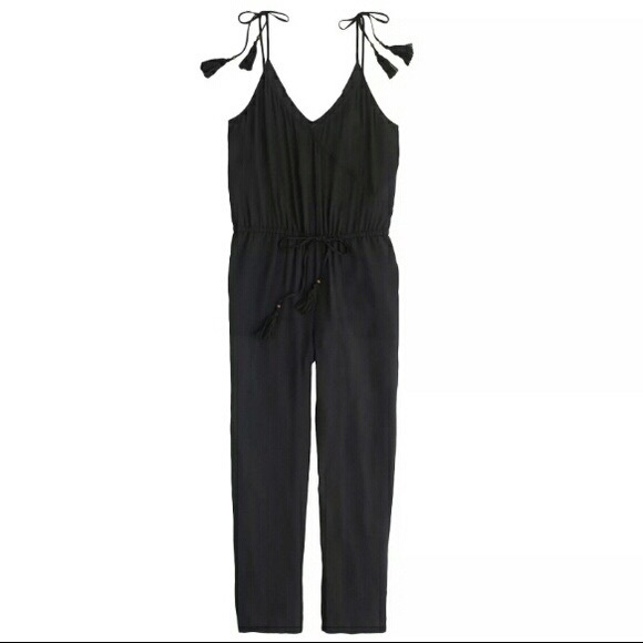 6168337606b Crepe Tassel Black Jumpsuit JCrew