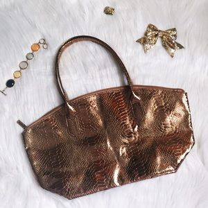 Rose gold copper snakeskin print tote
