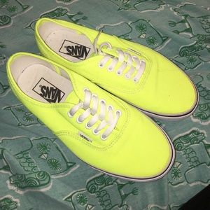 Neon yellow Vans sold out skate punk shoes