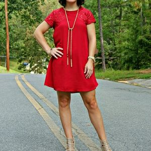 Red Dress with Floral Lace Sleeve Detail, S