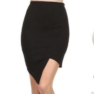 Dresses & Skirts - Asymmetrical Mini Skirt - BLACK