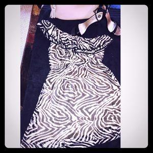 One shoulder Black & Tan Dress