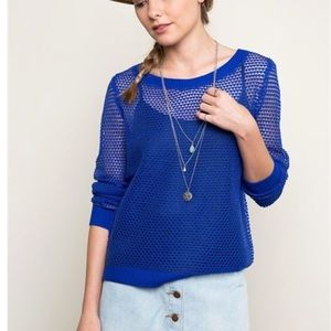Royal Blue Netted Top w/Sheer Back
