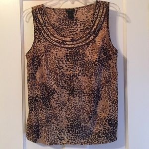 Brown patterned sleeveless blouse