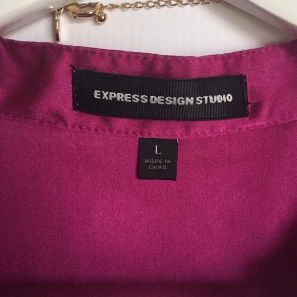 Express Tops - Express magenta cap sleeve silk blouse L