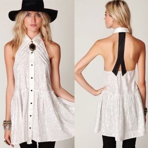 Free People Dresses & Skirts - Free People New Romantics Navy Silver Tuxedo Dress