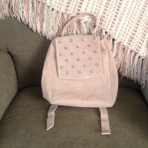 Handbags - NWOT Suede Blush Silver Studded Backpack