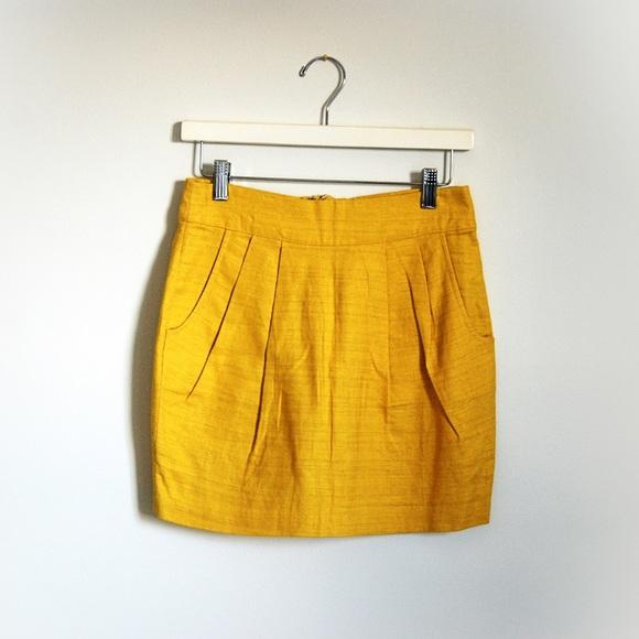 Forever 21 Dresses & Skirts - Forever 21 F21 linen mustard yellow skirt sz S