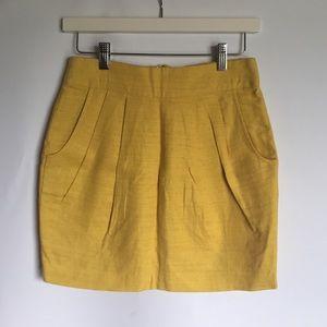 Forever 21 F21 linen mustard yellow skirt sz S