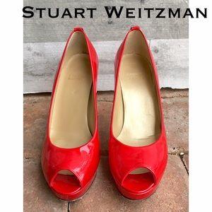 Stuart Weitzman Shoes - Stuart Weitzman red patent peep toe platform heels