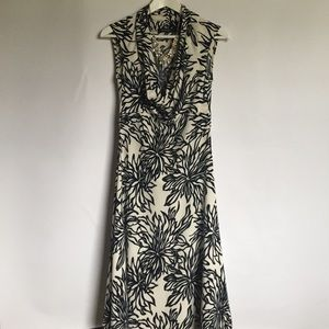 Arden B navy and white floral stretch dress S