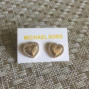 Michael Kors Crystal Heart Stud Earrings
