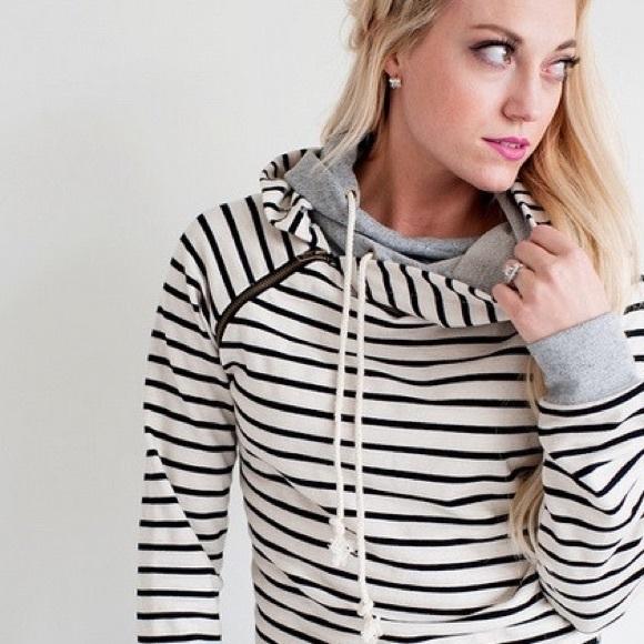 Ampersand Avenue striped double hooded sweatshirt