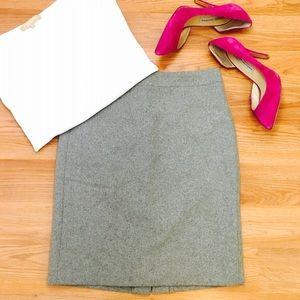 J.Crew Wool Pencil Skirt in Gray.